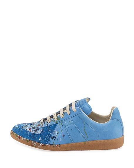 Pollock Men's Paint-Splatter Leather & Suede Low-Top Sneakers, Blue