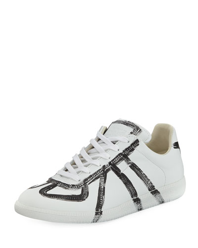 Men's Replica Finger-Paint Low-Top Sneaker, White/Black