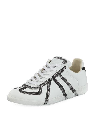 Men's Replica Finger-Paint Low-Top Sneaker, White/Black