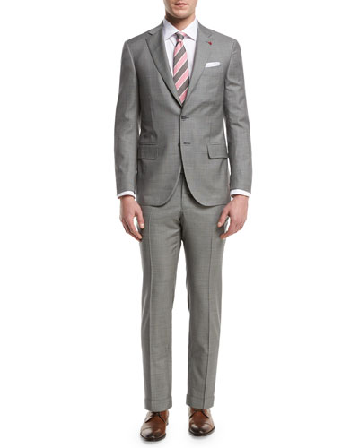 Check Aquaspider Super 160s Wool Two-Piece Suit  Gray
