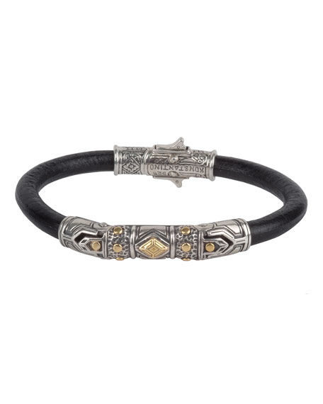 Men's Leather Bracelet with Sterling Silver & 18K Gold