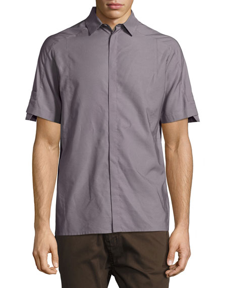 Helmut Lang Short-Sleeve Sport Shirt, Gray