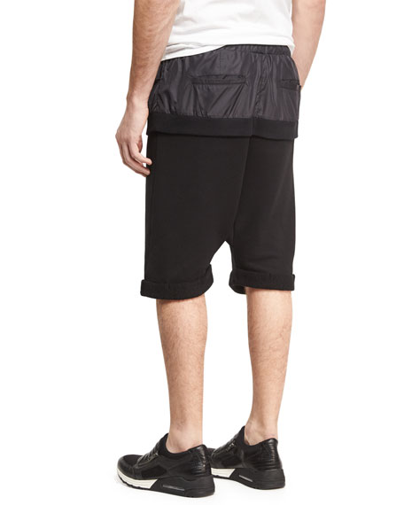 Double-Layer Banded Drop-Rise Shorts, Black