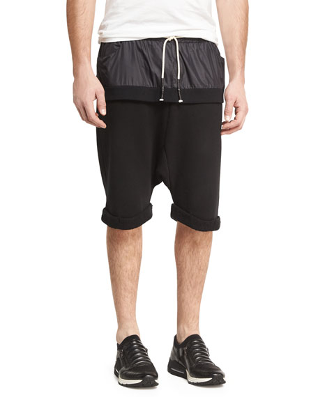 Mostly Heard Rarely Seen Double-Layer Banded Drop-Rise Shorts,