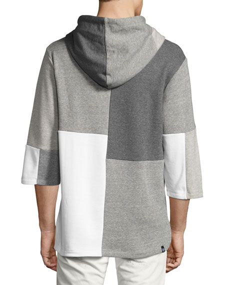 Patchwork 3/4-Sleeve Hooded Sweatshirt, Gray Pattern