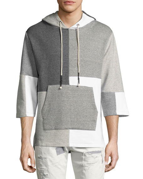 Mostly Heard Rarely Seen Patchwork 3/4-Sleeve Hooded Sweatshirt,