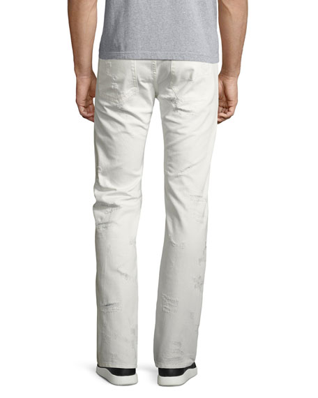 Shredded Patchwork Straight-Leg Jeans, White