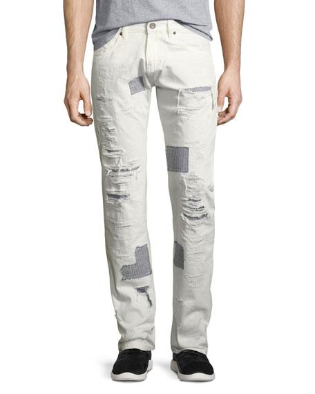 Shredded Patchwork Straight-Leg Jeans, White