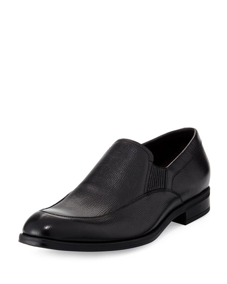 Ermenegildo Zegna Saffiano Leather Loafer, Black