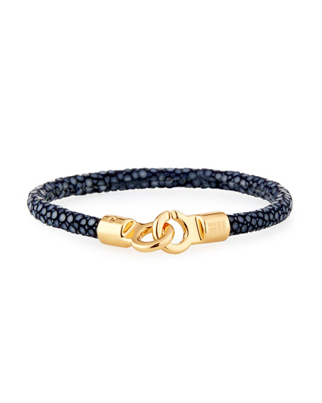 Brace Humanity Men's Stingray Shagreen Bracelet, Navy/Golden