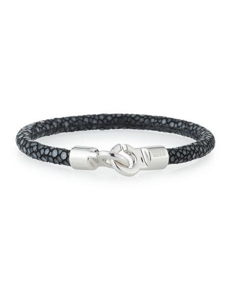 Brace Humanity Men's Stingray Shagreen Bracelet, Black/Silver