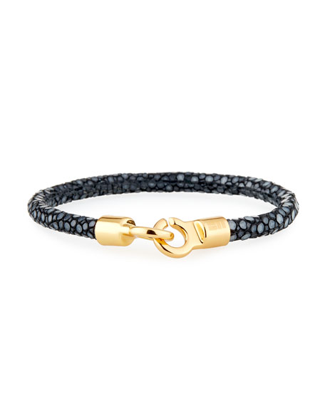 Brace Humanity Men's Stingray Shagreen Bracelet, Black/Golden