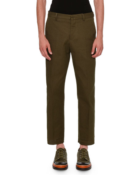 Textured Straight-Leg Pants, Olive