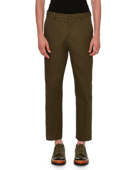 Textured Straight-Leg Pants, Olive