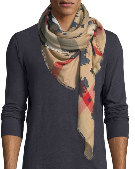 Burberry Beast Heads Lightweight Check Scarf