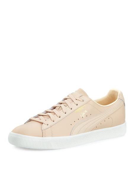 Puma Men's Clyde Leather Low-Top Sneaker, Natural (Tan)