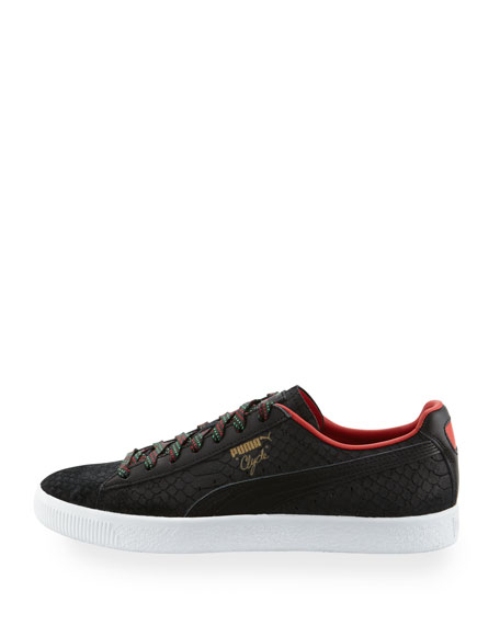 Men's Clyde GCC Snakeskin-Embossed Leather Low-Top Sneaker, Black