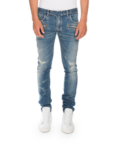 Free Shipping and Free Returns on Balmain Distressed Skinny Biker Jeans at funon.ml Made in France, Balmain's black distressed stretch-cotton denim skinny biker jeans are detailed at the knees and waist yoke with corrugated articulation.