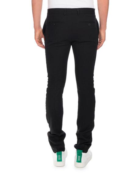 Slim Smoking Pants with Side Stripe, Black