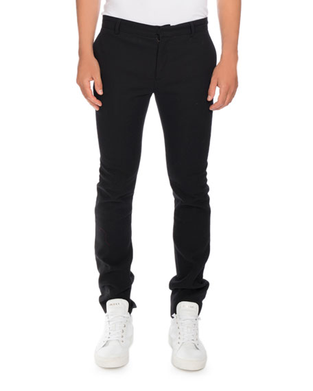 Balmain Slim Smoking Pants with Side Stripe, Black