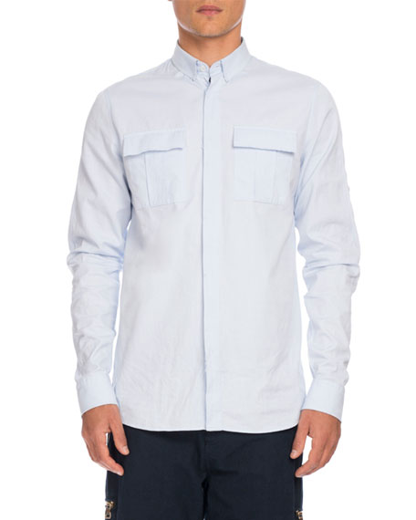 Balmain Utility-Pocket Woven Shirt, Light Blue