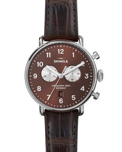 43mm Canfield Men's Chronograph Watch, Bourbon Brown