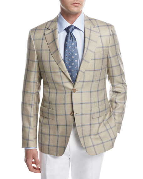 Canali Windowpane Check Sport Coat, Tan/Blue