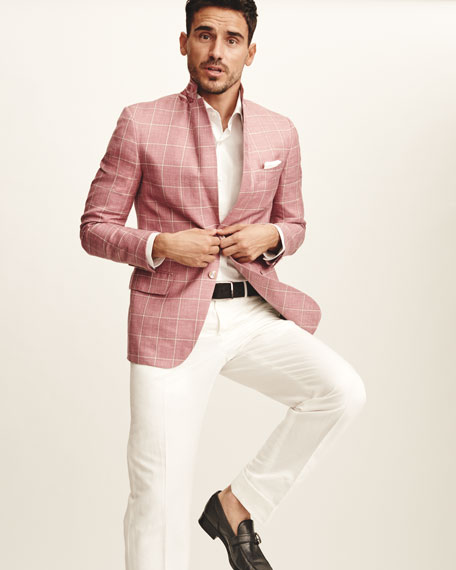 Isaia Windowpane Check Two-Button Sport Coat, Pink/Beige