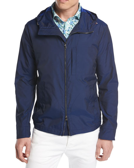 Double-Face Zip-Front Jacket, Navy