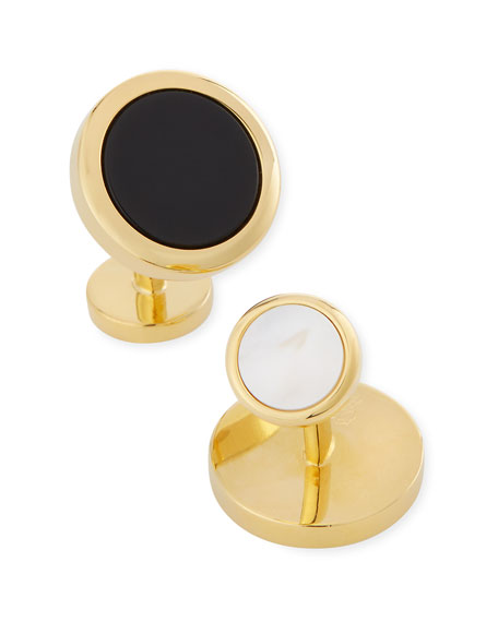 Cufflinks Inc. Double-Sided Onyx & Mother-of-Pearl Cuff Links & Stud Set