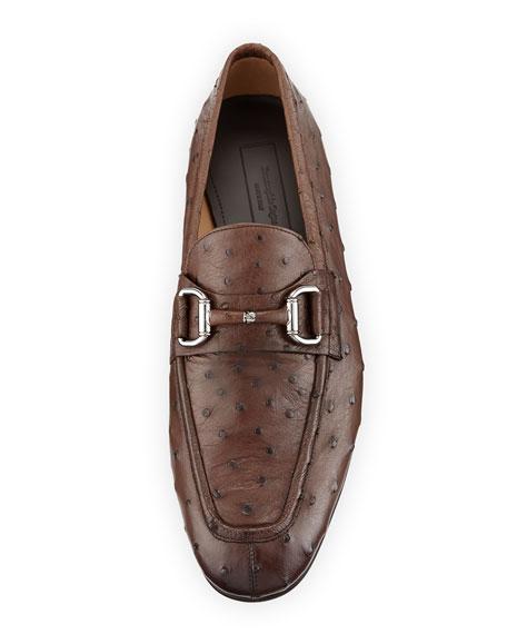 Ostrich Leather Bit-Strap Loafer