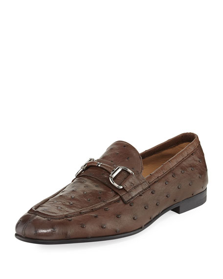 Ermenegildo Zegna Ostrich Leather Bit-Strap Loafer
