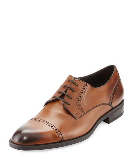 Ermenegildo Zegna Garonne Flex Cap Toe Leather Oxfords In Brown