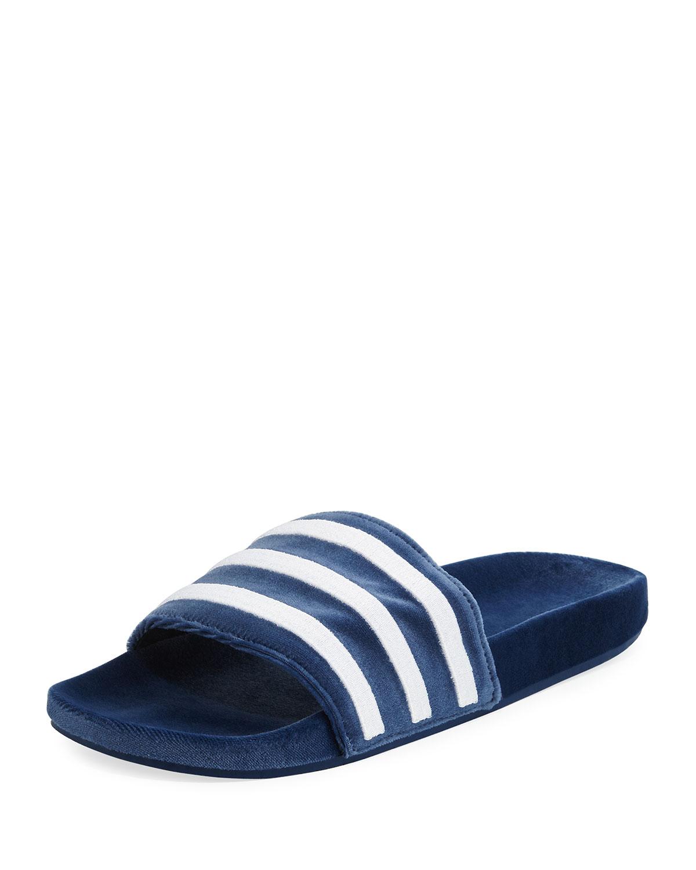 0601df52cd3417 Adidas Men s Adilette Striped Velvet Slide Sandal