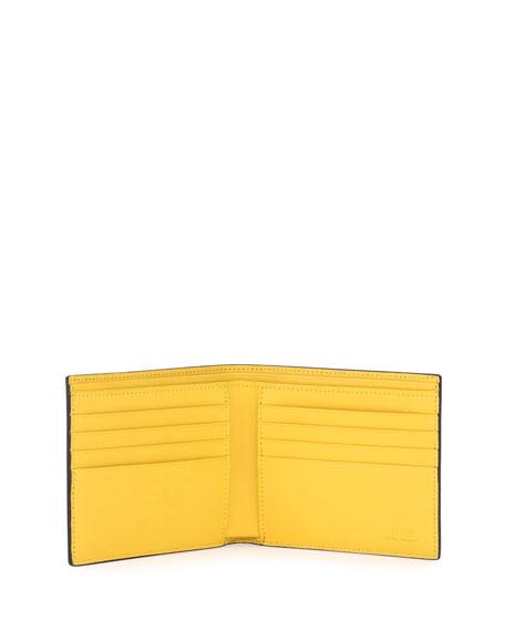 Monster Eyes Leather Bi-Fold Wallet, Blue/Yellow