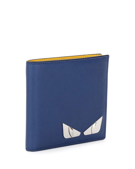 Monster Eyes Leather Bi-Fold Wallet, Blue/Yellow