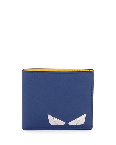 Fendi Monster Eyes Leather Bi-Fold Wallet, Blue/Yellow