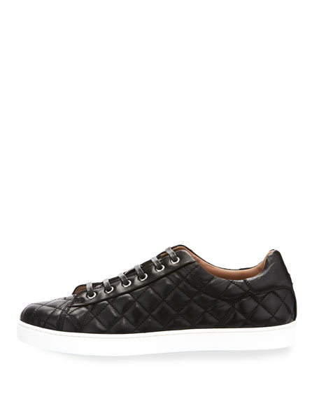 Men's Quilted Leather Low-Top Sneakers, Black (Nero)