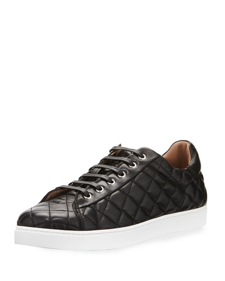 Gianvito Rossi Men's Quilted Leather Low-Top Sneaker, Black