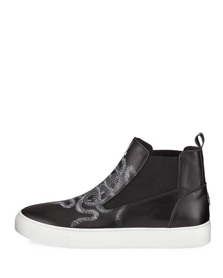 Essie Snake-Print Sneaker Boot, Black