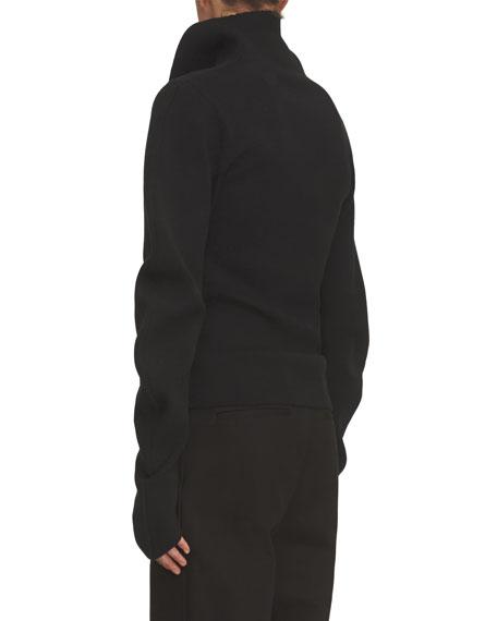 Ribbed Sculptural Sweater, Black