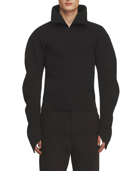 Burberry Ribbed Sculptural Sweater, Black