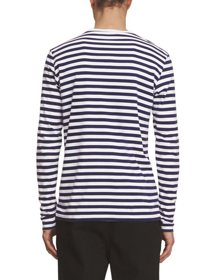 Breton-Stripe Long-Sleeve Shirt with Pallas Helmet, Indigo/White
