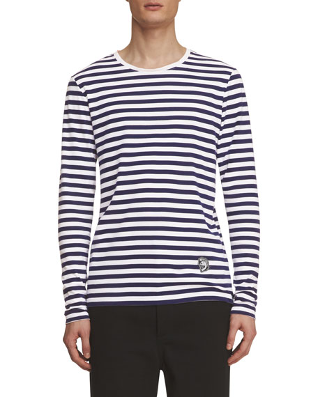 Burberry Breton-Stripe Long-Sleeve Shirt with Pallas Helmet,