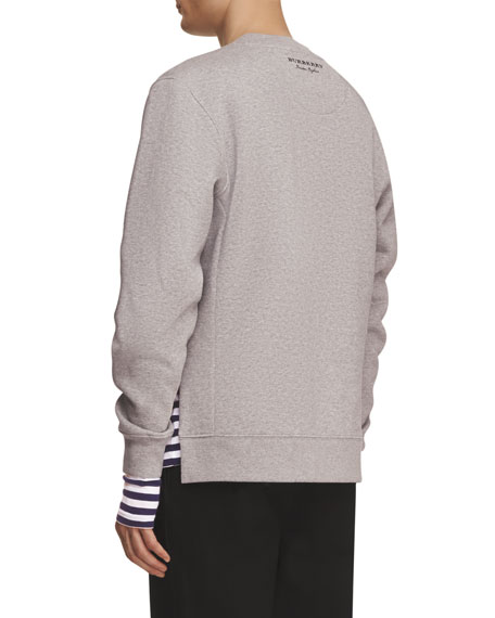 Brushed Jersey Sweatshirt with Striped Silk-Cotton Panel, Gray/Navy/White