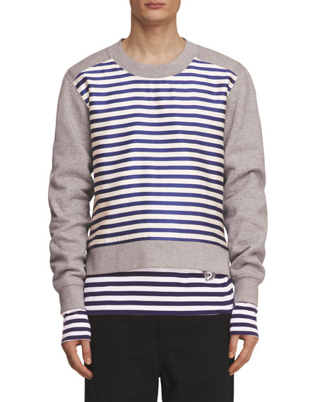 Burberry Brushed Jersey Sweatshirt with Striped Silk-Cotton