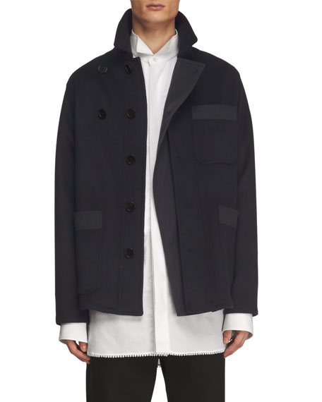 Burberry Double-Face Cashmere Workwear Jacket, Navy