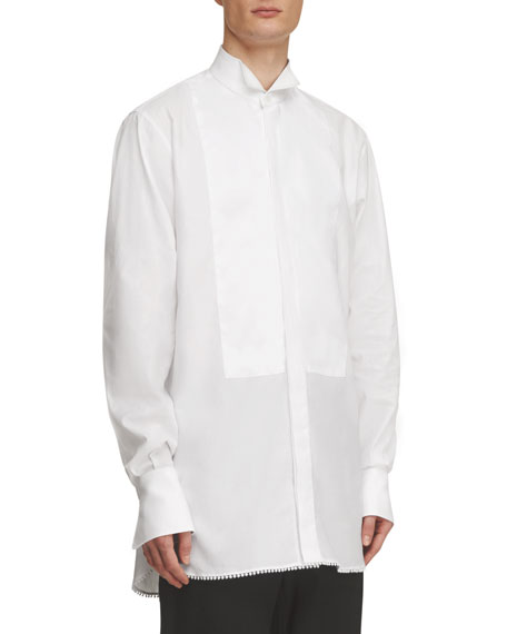 Macramé-Trim Cotton Tuxedo Shirt, White