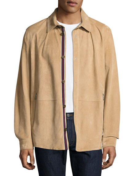 Salvatore Ferragamo Lamb Suede Shirt Jacket, Tan