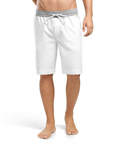 Hanro Harvey Woven Shorts, White/Gray
